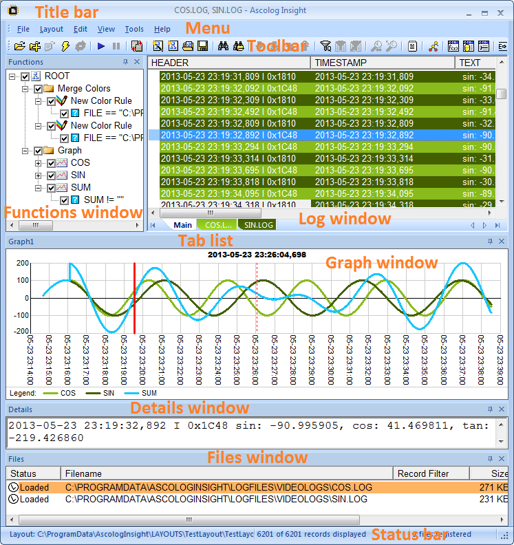Ascolog Insight user interface
