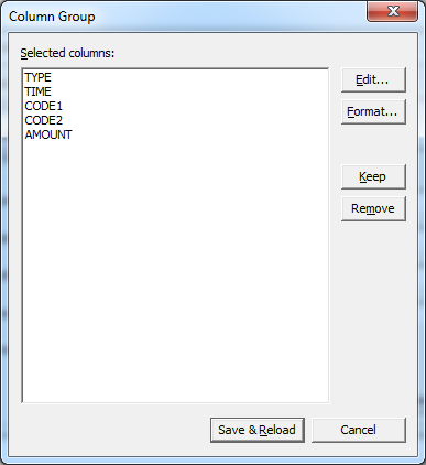 Column Group dialog