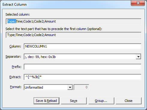 Extract Column dialog after opening