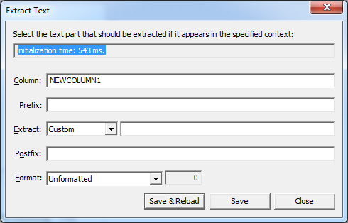 Extract Text dialog after opening