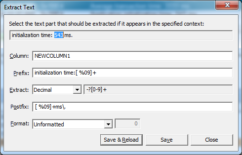 Extract Text dialog after selecting the text part to extract