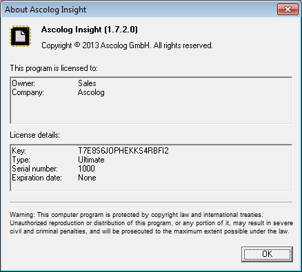 Version and license information dialog